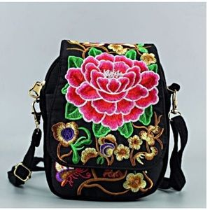 Handbags - Embroidered Messenger Crossbody Coin Purse